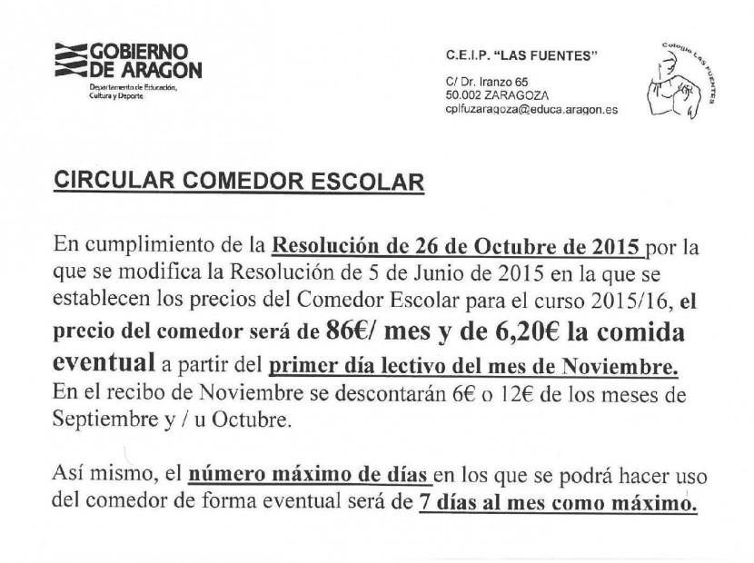 Aviso: Cambio de precios para el comedor escolar - CEIP Las Fuentes